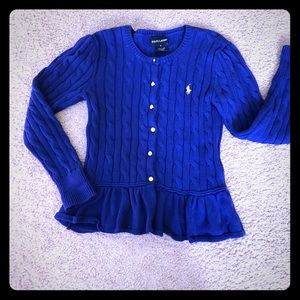Ralph Lauren Girls button down sweater. Sz 6
